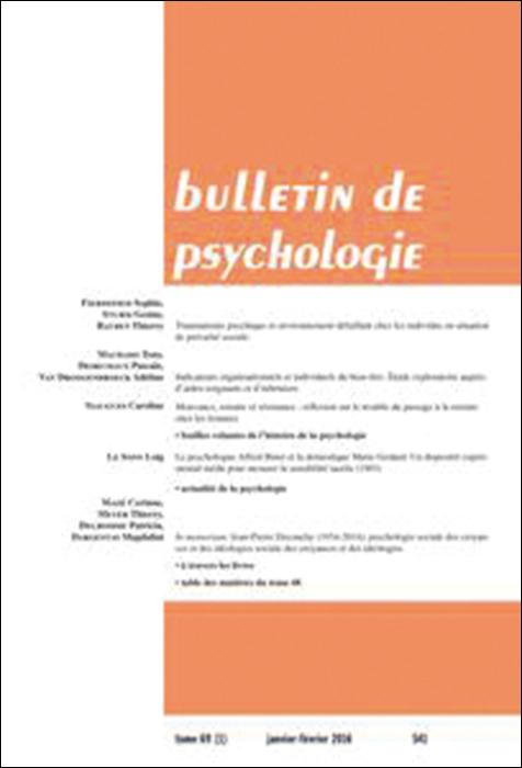 Bulletin de psychologie. Article « Traumatisme psychique et environnement défaillant chez les individus en situation de précarité sociale »