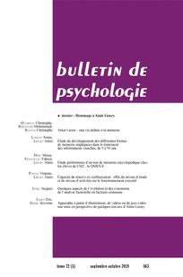 Bulletin de psychologie. Hommage à Alain Lieury
