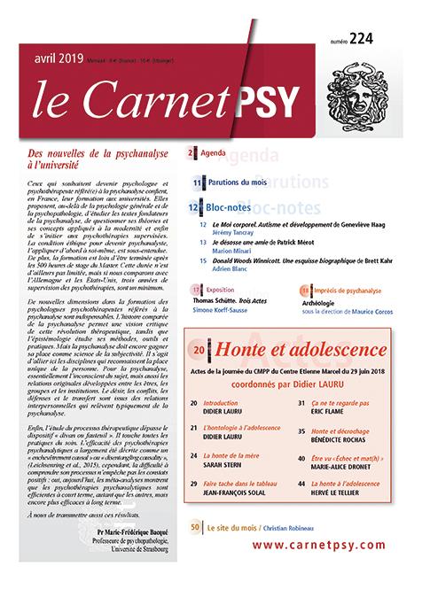 Le Carnet Psy. Honte et adolescence