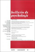 Bulletin de psychologie. Dossier « La résilience »